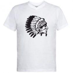 Мужская футболка  с V-образным вырезом Индеец