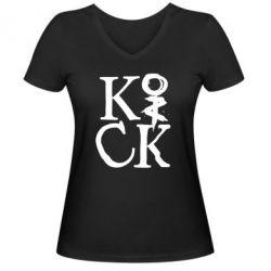 Женская футболка с V-образным вырезом Invincible tricking - PrintSalon