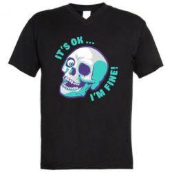 Мужская футболка  с V-образным вырезом It's ok... I'm fine!
