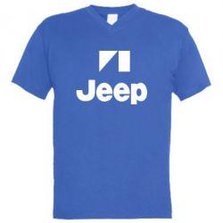 Мужская футболка  с V-образным вырезом Jeep Logo