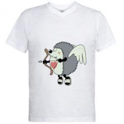 Мужская футболка  с V-образным вырезом Ёжик Амур