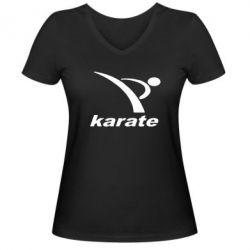 Женская футболка с V-образным вырезом Karate