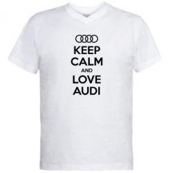 Мужская футболка  с V-образным вырезом Keep Calm and Love Audi