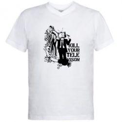 Мужская футболка  с V-образным вырезом Kill your television