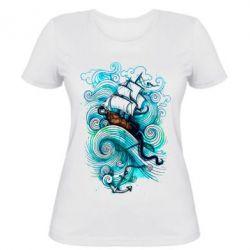 Женская футболка Корабль на волнах