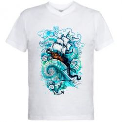 Мужская футболка  с V-образным вырезом Корабль на волнах