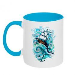 Кружка двухцветная Корабль на волнах