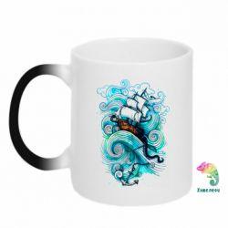 Кружка-хамелеон Корабль на волнах
