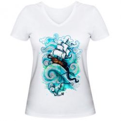 Женская футболка с V-образным вырезом Корабль на волнах