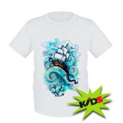 Детская футболка Корабль на волнах