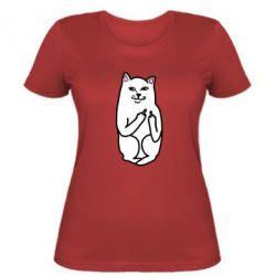 Женская футболка Кот с факом - PrintSalon