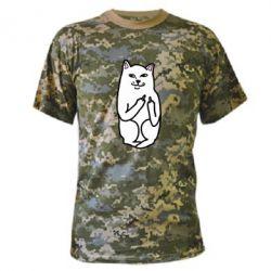 Камуфляжная футболка Кот с факом - PrintSalon