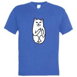 Мужская футболка  с V-образным вырезом Кот с факом - PrintSalon