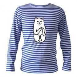 Тельняшка с длинным рукавом Кот с факом - PrintSalon