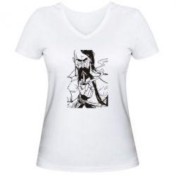 Женская футболка с V-образным вырезом Козачина з люлькою - PrintSalon