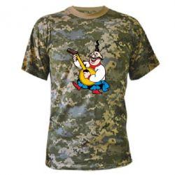 Камуфляжная футболка Козак с бандурой - PrintSalon