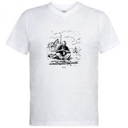Мужская футболка  с V-образным вырезом Козак та кінь - PrintSalon