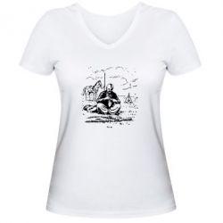 Женская футболка с V-образным вырезом Козак та кінь - PrintSalon