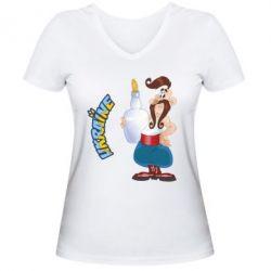 Женская футболка с V-образным вырезом Козак з горілкою