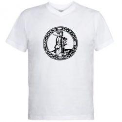 Мужская футболка  с V-образным вырезом Козак з мушкетом - PrintSalon