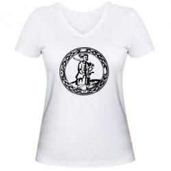 Женская футболка с V-образным вырезом Козак з мушкетом - PrintSalon