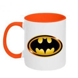 Кружка двухцветная Batman logo Gold - PrintSalon