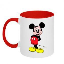 Кружка двухцветная Довольный Микки Маус - PrintSalon