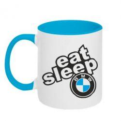 Кружка двухцветная Eat, sleep, BMW