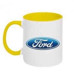 Кружка двухцветная Ford 3D Logo - PrintSalon