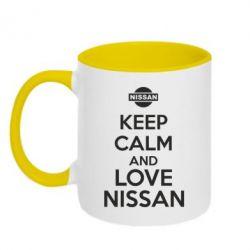 Кружка двухцветная Keep calm and love Nissan
