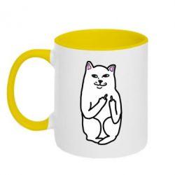 Кружка двухцветная Кот с факом - PrintSalon