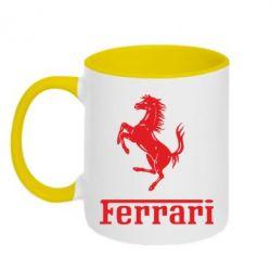 Кружка двухцветная логотип Ferrari