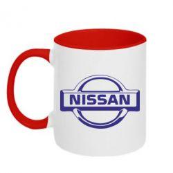 Кружка двухцветная логотип Nissan - PrintSalon