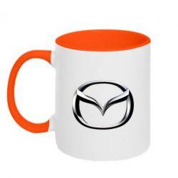 Кружка двухцветная Mazda 3D Logo