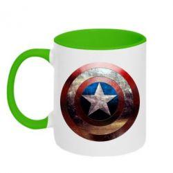 Кружка двухцветная Потрескавшийся щит Капитана Америка - PrintSalon