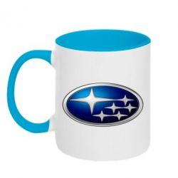 Кружка двухцветная Subaru 3D Logo