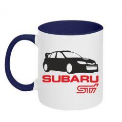 Кружка двухцветная Subaru STI