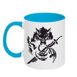 Кружка двухцветная Волк с мечем
