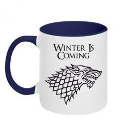 Кружка двухцветная Winter is coming (Игра престолов) - PrintSalon