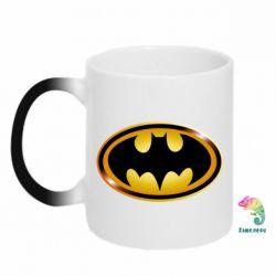 Кружка-хамелеон Batman logo Gold - PrintSalon
