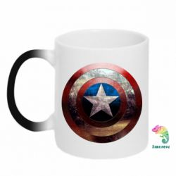Кружка-хамелеон Потрескавшийся щит Капитана Америка - PrintSalon
