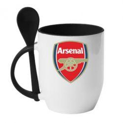 Кружка с керамической ложкой Arsenal - PrintSalon