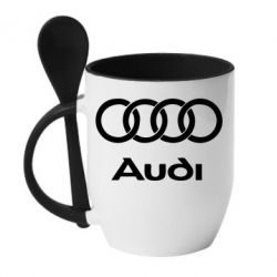 Кружка с керамической ложкой Audi - PrintSalon