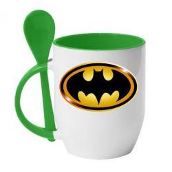Кружка с керамической ложкой Batman logo Gold - PrintSalon