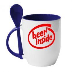 Кружка с керамической ложкой Beer Inside - PrintSalon