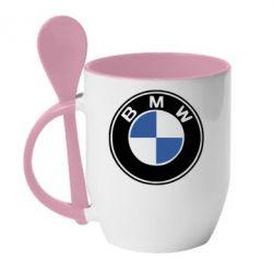 Кружка с керамической ложкой BMW - PrintSalon