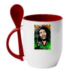 Кружка с керамической ложкой Боб Марли