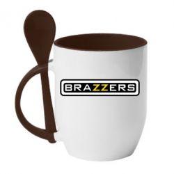 Кружка с керамической ложкой Brazzers - PrintSalon