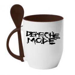 Кружка с керамической ложкой Depeche mode - PrintSalon