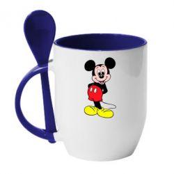Кружка с керамической ложкой Довольный Микки Маус - PrintSalon